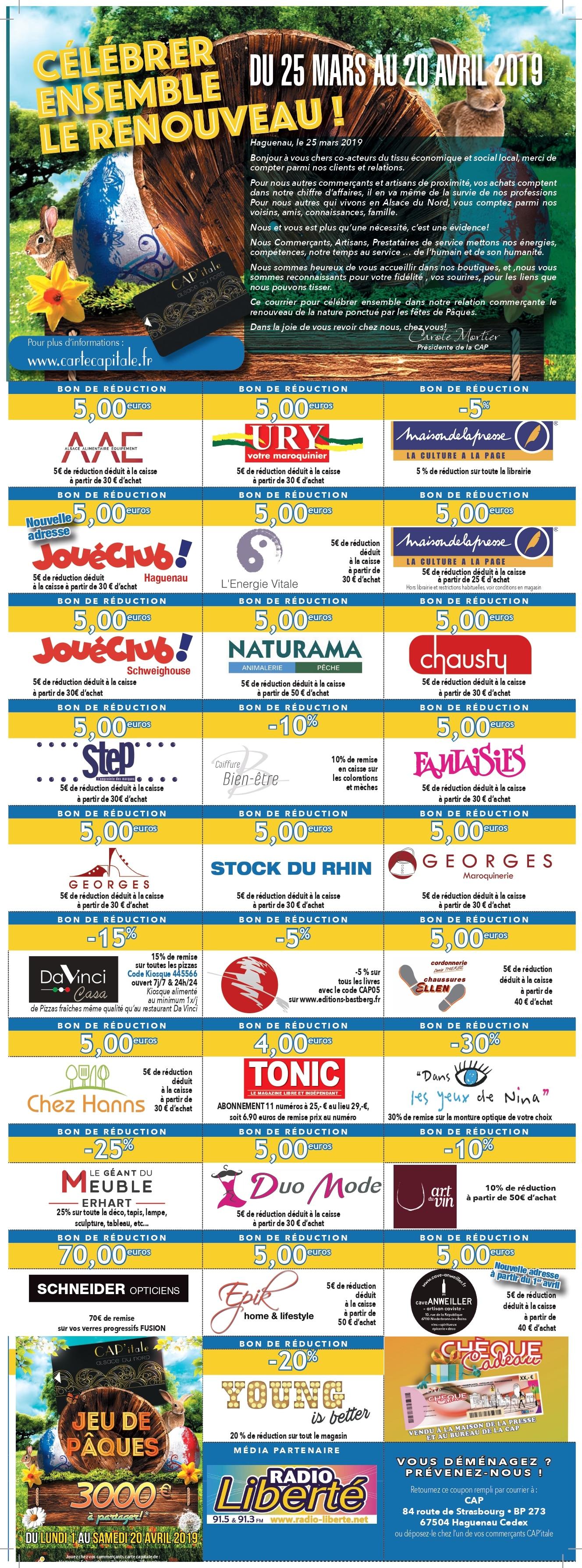 Coupons Pâques 2019 - Carte CAP'itale CAP Alsace